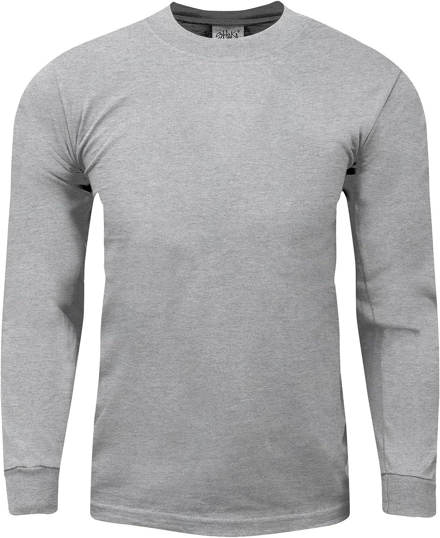 Men's Heavyweight Cotton T Shirt –Max Heavy 7 Ounce Long Sleeve Crew Neck Plain Tee Top Tshirts Regular Big Tall Size