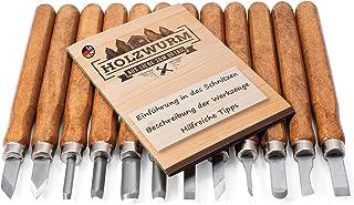HOLZWURM Set d'outils de sculpture bois 12 pcs. avec instructions (EN), set de couteaux de sculpture idéal pour sculpter l...