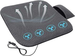 SEG Direct Cojín de Asiento de ventilación Cuatro Ventiladores de bajo Ruido, Compatible con USB con múltiples Dispositivos, Material Transpirable con Placa de plástico para su automóvil y Oficina