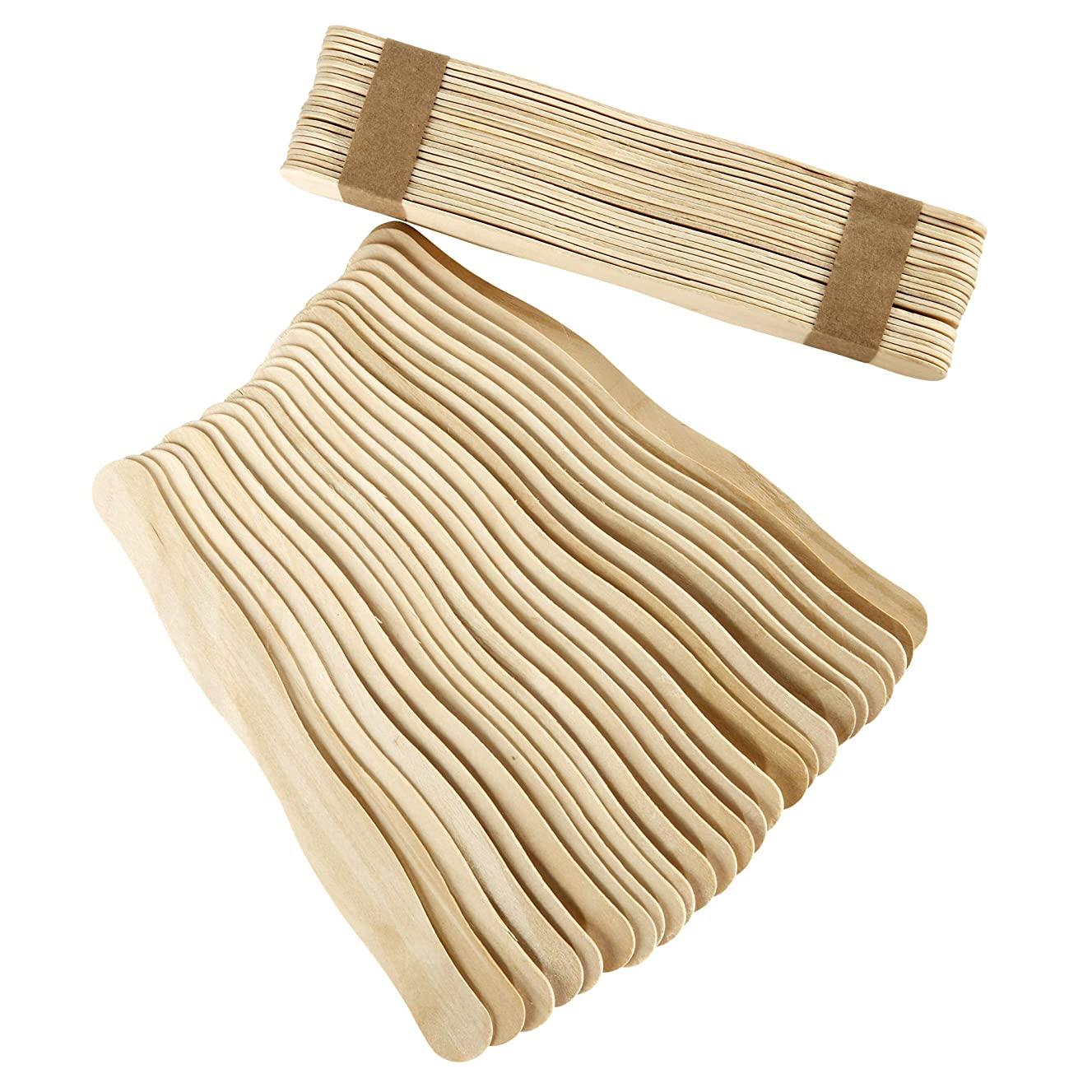 Artlicious - 100 Unfinished Natural Wood Wavy Popsicle Craft Sticks, 8