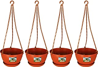 Easy Gardening 8 Inch Hanging Pots and Planters Terracotta Color (Pack of 6)