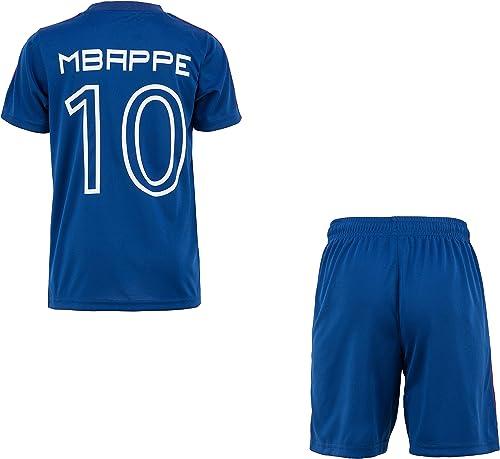Equipe de FRANCE de football Maillot + Short FFF - Kylian MBAPPE - Collection Officielle Taille Enfant garçon