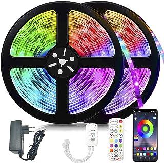 Ruban LED, Voneta 20M Bande LED 5050 RGB Multicolores, Contrôlé par APP, IR Télécommande et Contrôleur, Synchroniser avec ...