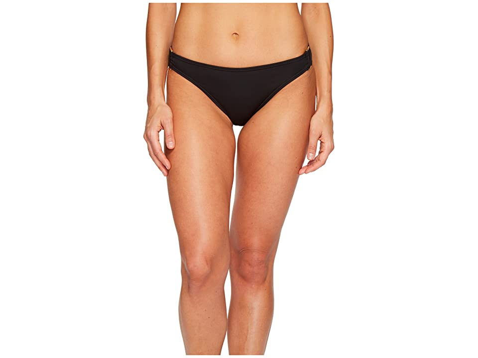 Tommy Bahama Pearl Hipster Bikini Bottom with Rectangle Hardware (Black) Women