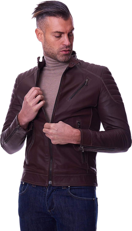 Dark brown quilted nappa lamb leather biker jacket three zipper pockets