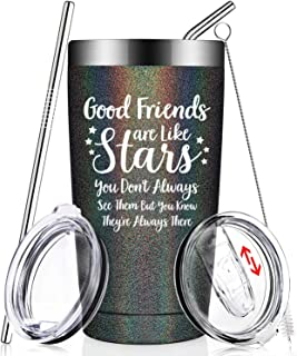 Good Friends Are Like Stars - Funny Best Friend Birthday Gifts - Christmas Friendship Present Idea for Women, Men, Sister, Coworker, Roommate, BFF, Female, Lady, Her - Insulated Wine Tumbler Cup