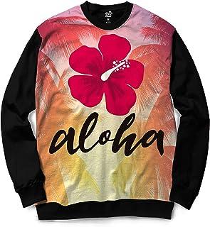 Moletom Gola Careca Long Beach Aloha Sublimada Rosa