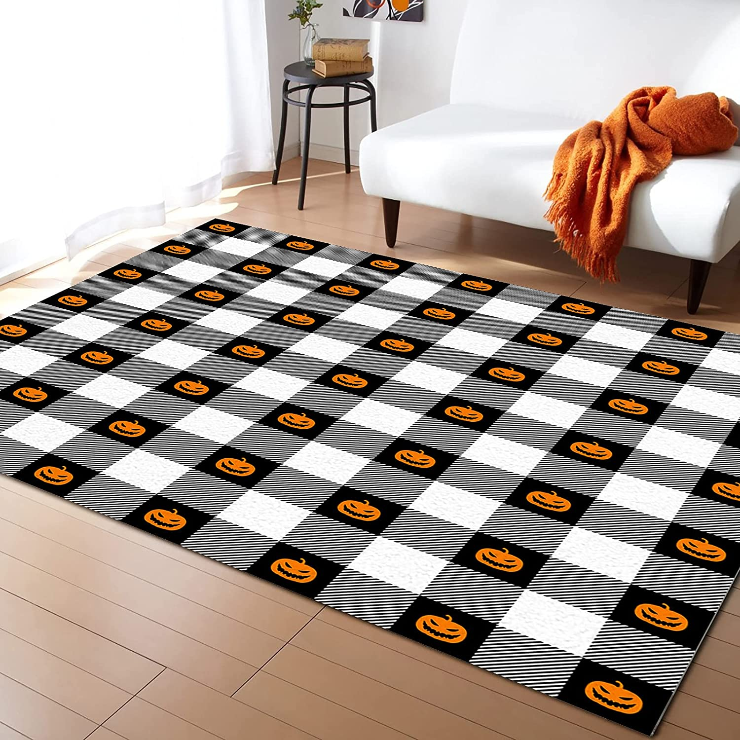 Sailground store Area Rugs for Living Room Happy Halloween Milwaukee Mall Gri Bedroom