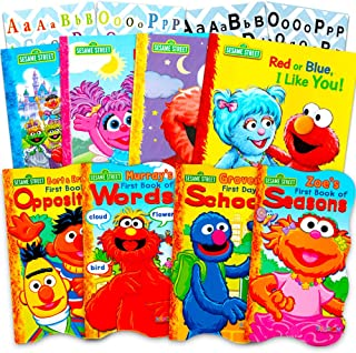 Sesame Street Ultimate Board Books Set for Kids Toddlers - Pack of 8 Board Books with Alphabet Stickers (ABC Set)