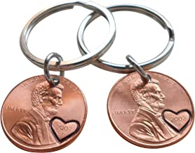 Double Keychain Set 2002 Penny Keychains With Heart Around Year; 17 year Anniversary Gift, Engraved Couples Keychains