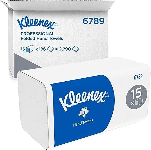 Kleenex 6789 Essuie-mains pliés, 15 paquets de 186 feuilles en papier, 2 plis, Technologie absorbante Airflex , Coule...