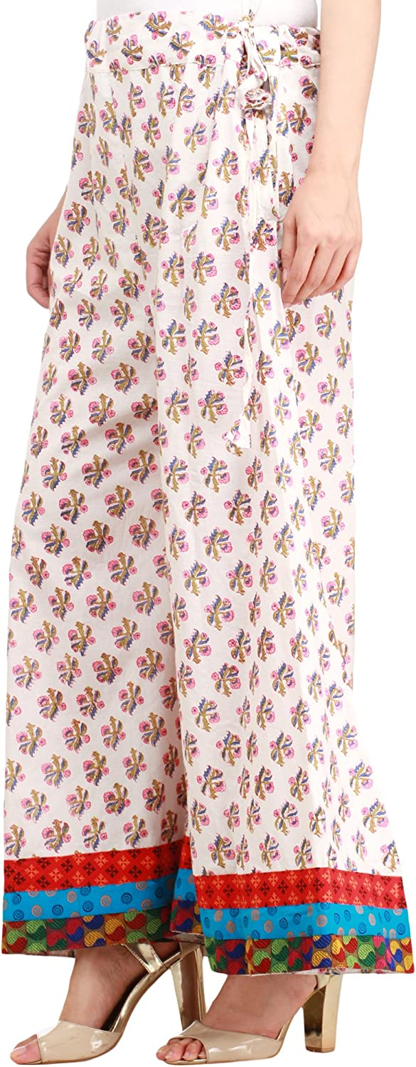 Exotic India Star-White Casual Palazzo Pant from Pilkhuwa with Floral Bootis and
