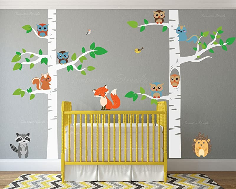 Birch Tree Wall Decal Forest With Owl Birds Squirrels Fox Porcupine Racoon Vinyl Sticker Woodland Children Decor Removable 1327 108 9ft Tall White Trees