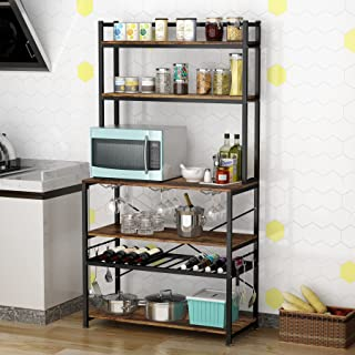 6-Tier Kitchen Baker's Rack with Wine Rack and Wine Glass Holder, Utility Microwave Oven Stand for Spices Pots Pans Plate...