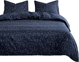 Wake In Cloud - Constellation Duvet Cover Set, White Space Stars Pattern Printed Navy Blue, Soft Microfiber Bedding with Zipper Closure (3pcs, Queen Size)