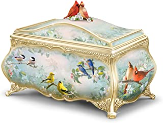 The Bradford Exchange Joe Hautman Songbird Artwork Porcelain Music Box with 22K Gold Sentiment