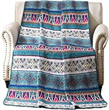 Blue Striped Design Coverlets Quilted Blanket, Bohemian Exotic Style Patchwork Bed Cover Throw Quilt for Twin Bed