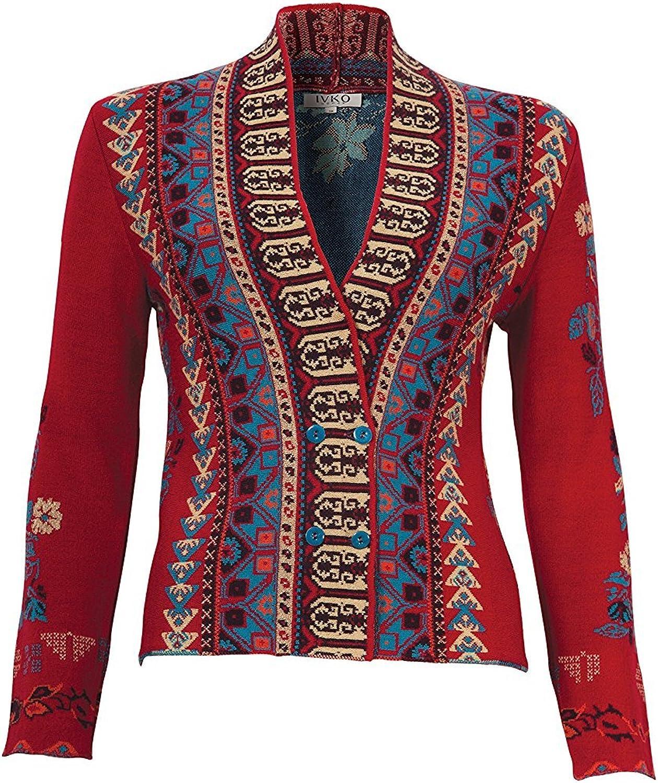 IVKO Balkan Fusion Geometric Floral Pattern Jacket, Cherry