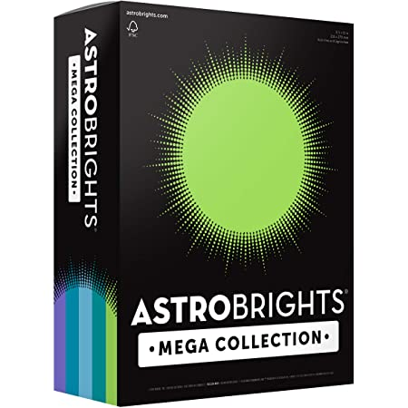 """Astrobrights Mega Collection Colored Paper, 8 ½ x 11, 24 lb/89 gsm, """"Frosty"""" 5-Color Assortment, 625 Ct. (91686)""""Amazon Exclusive"""" - More Sheets!"""