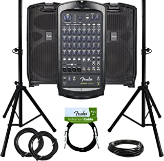 Fender Passport Venue Portable PA System Bundle with Compact Speaker Stands, XLR Cable, and Instrument Cable