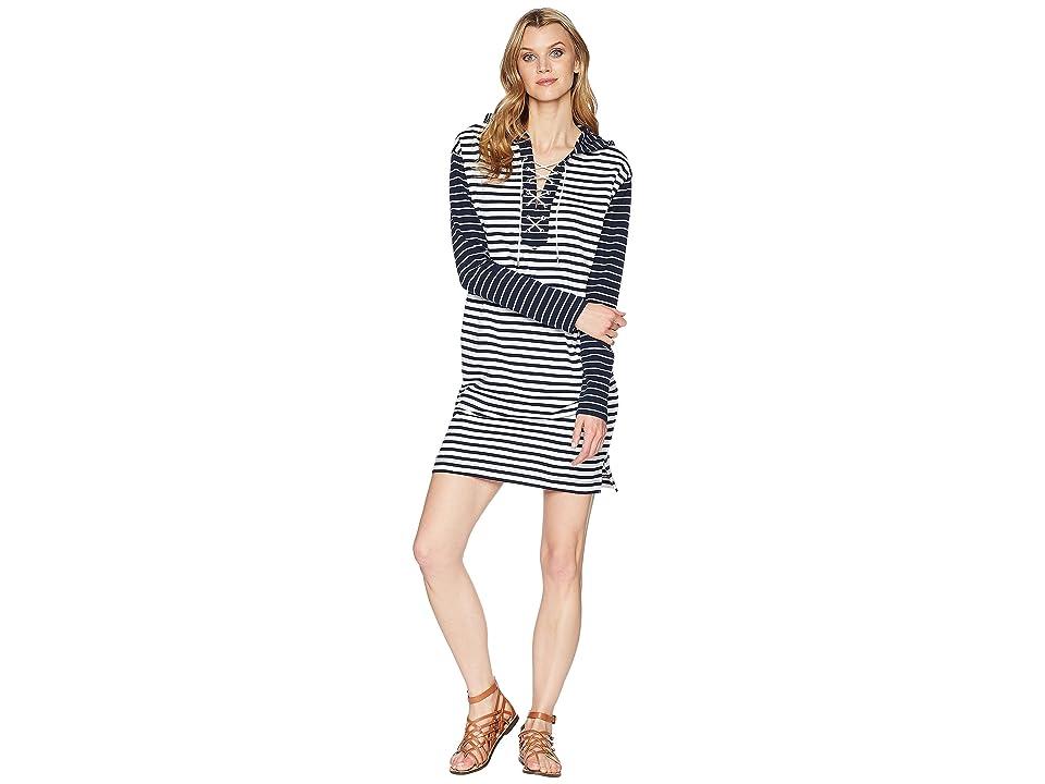 CHAPS Striped French Terry Dress (White/Capri Navy/Hank Stripe) Women