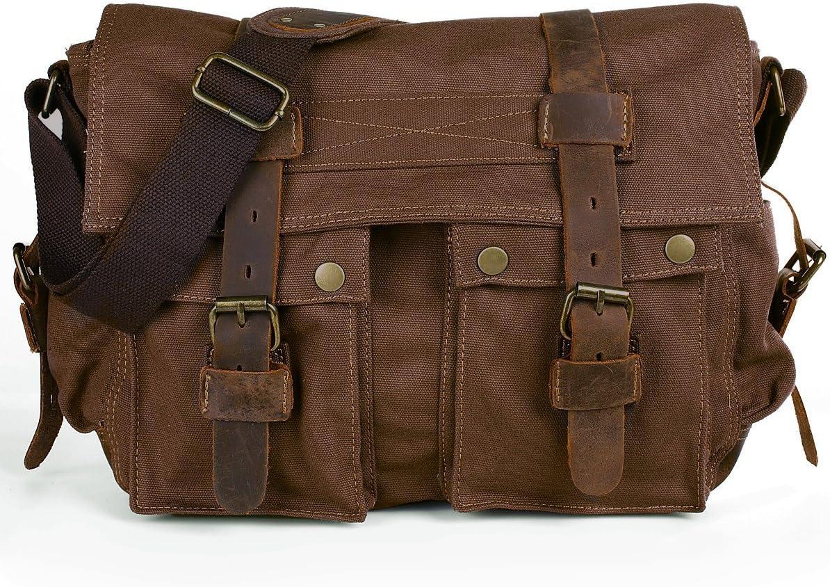 Peacechaos Men's Canvas Camera Bag Leather DSLR SLR Camera Case Vintage Camera Messenger Bag Shoulder Bag Sling Bag(Brown)
