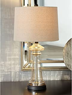 Dalia Modern Table Lamp Clear Champagne Gold Glass Taupe Drum Shade Living Room Family Bedroom Bedside Nightstand Office - 360 Lighting