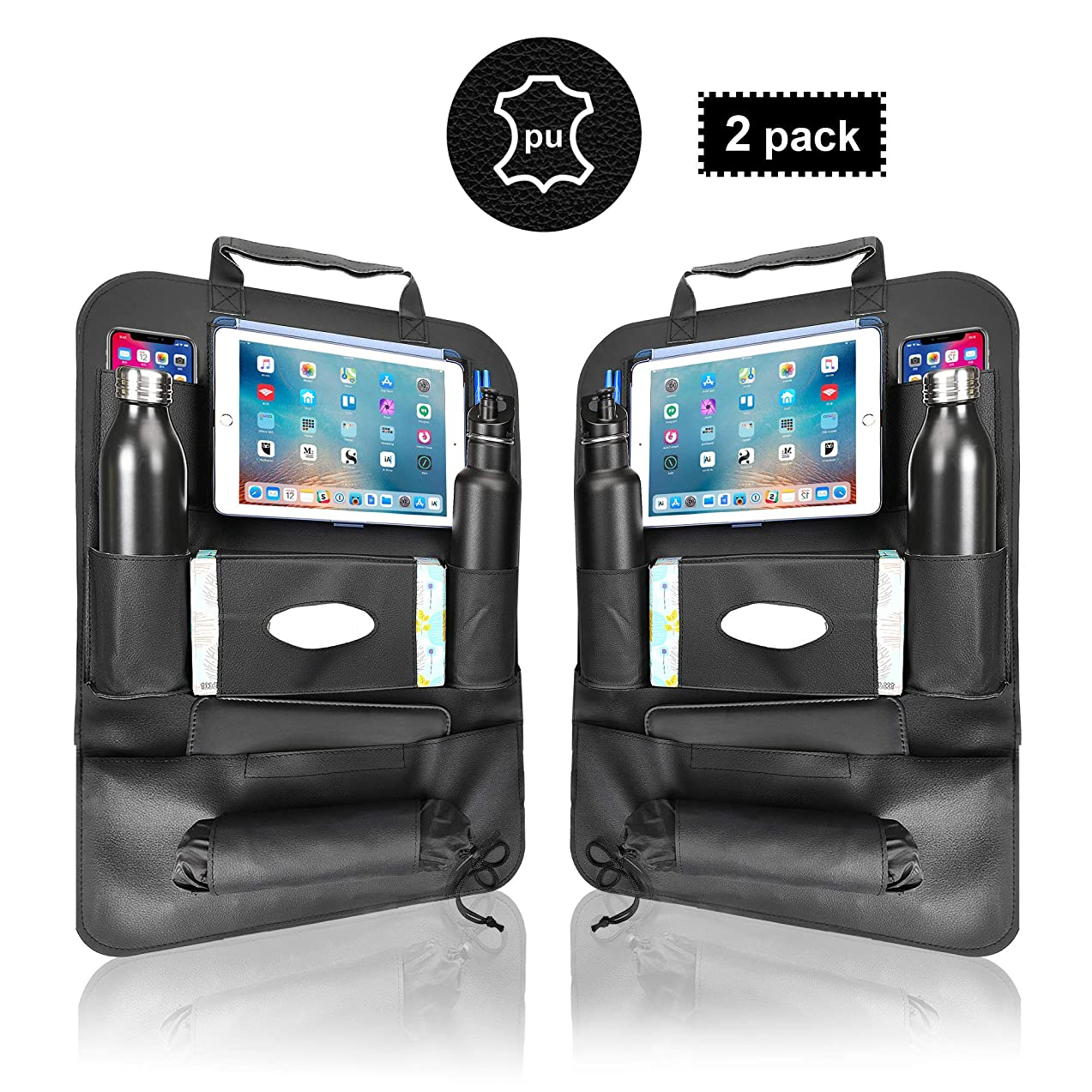 ZODDOS Car Backseat Organizer and Bag Holder with 8 Pockets for Ipads and Tablets. Premium Waterproof PU Leather Road Trip Essentials, Black Pack of 2