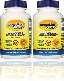 BergaMet Citrus Bergamot MEGA+O 40% BPF 600mg 120 Tablets - High Quality Natural Cholesterol & Heart Supplements, Multiple Clinical Studies. Lower Blood Glucose. Non-GMO. Vegetarian.