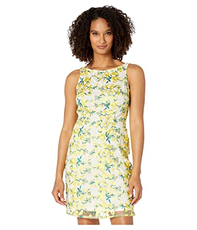 Adrianna Papell Floral Embroidered Sheath Dress with Boat Neck (Yellow Multi) Women