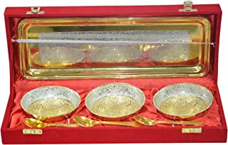 Indian Accent Silver and Gold Plated Brass Bowls Set (3 Bowl: 3 Spoon: 1 Tray)