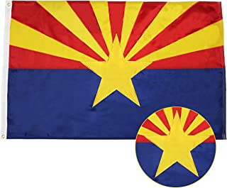 G128 - Arizona State Flag | 3x5 feet | Double Sided Embroidered 210D - Indoor/Outdoor, Brass Grommets, Heavy Duty Polyeste...