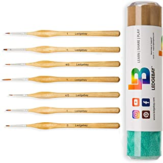 Miniature Paint Brushes by LEDGEBAY   12 Piece Fine Tip Brush Set for Micro Detail   Hand Crafted, Perfectly Balanced and ...