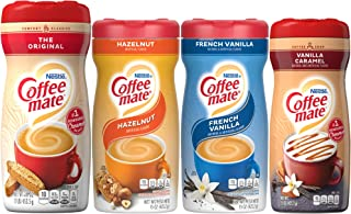 Coffee Mate Powdered Creamer Variety 4 Pk, 1 of each of the following: Original, Hazelnut, French Vanilla, Vanilla Caramel