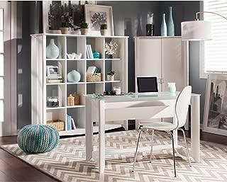 Bush Furniture Aero Writing Desk with 16 Cube Bookcase/Room Divider in Pure White