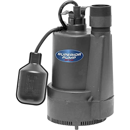 Superior Pump 92330 1/3 HP Thermoplastic Sump Pump with Tethered Float Switch, (Top Discharge), Black