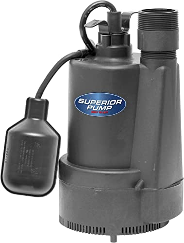 Superior Pump 92330 1/3 HP Thermoplastic Sump Pump with Tethered Float Switch, Black