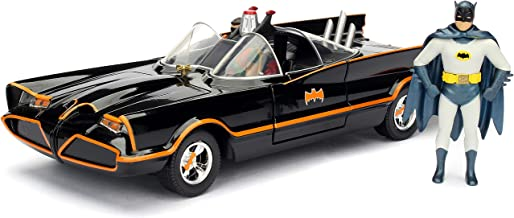 Jada Toys DC Comics 1966 Classic TV Series Batmobile with Batman and Robin figures; 1:24 Scale Metals Die-Cast Collectible Vehicle