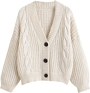 SheIn Women's Long Sleeve Open Front Buttons Cable Knit Drop Shoulder Cardigan Sweater