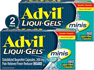 Advil Liqui-Gels minis (Two Pack of 160 Count - 320 Count) Pain Reliever / Fever Reducer Liquid Filled Capsules, 200mg Ibuprofen, Easy to Swallow, Temporary Pain Relief