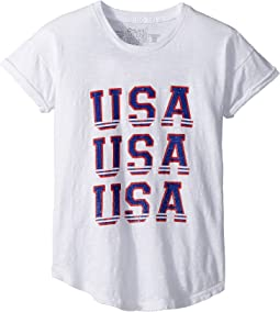 Rolled Short Sleeve Slub USA Tee (Big Kids)