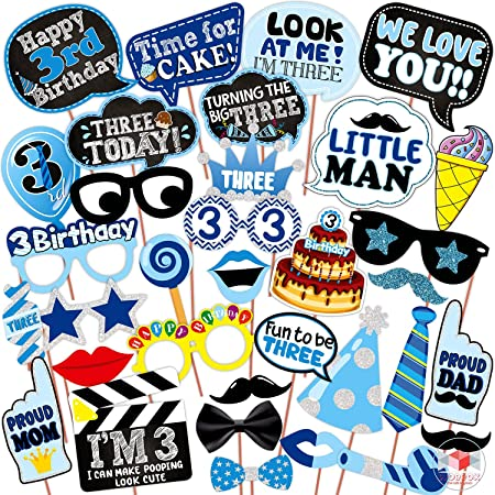 WOBBOX Third Birthday Photo Booth Party Props Blue for Baby Boy , 3rd Birthday Decorations for Boys , Kids Birthday Party Decoration Items