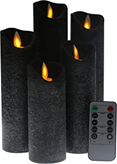 Kitch Aroma Black flameless Candles, Battery Operated LED Pillar Candles with Moving Flame Wick with Remote Timer,Pack of 5