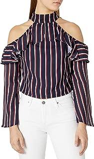 قميص نسائي Lucca Couture بكتف بارد مقلم بكشكشة