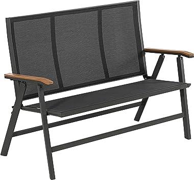 Dehner Klappbank Colmar, 2-Sitzer, ca. 128x 99 x 61.5 cm, Aluminium/Textilene/FSC Teakholz, grau