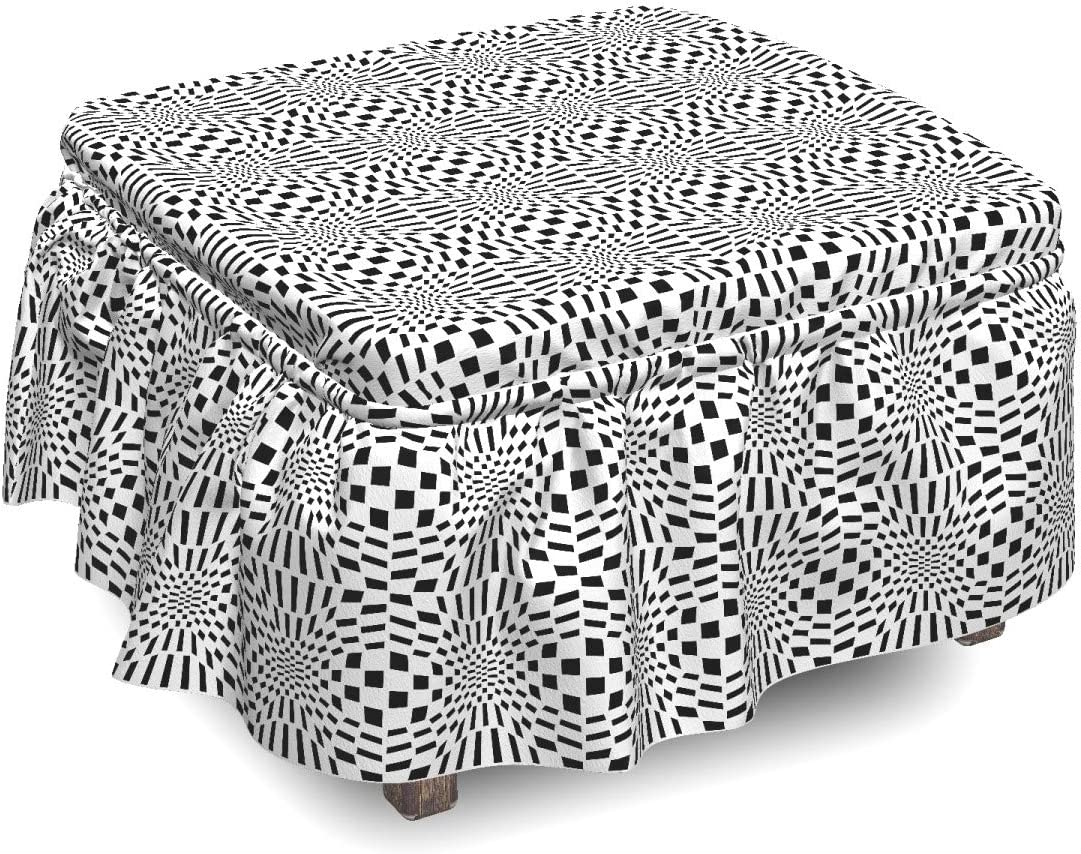 Ambesonne Crazy supreme Art Ottoman Ranking TOP11 Cover Quirky 2 Pie Pattern Squares