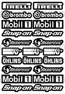 Kungfu Graphics Motocross Sponsor Logos Racing Sticker Sheet Universal (7.2 x 10.2 inch), Black White