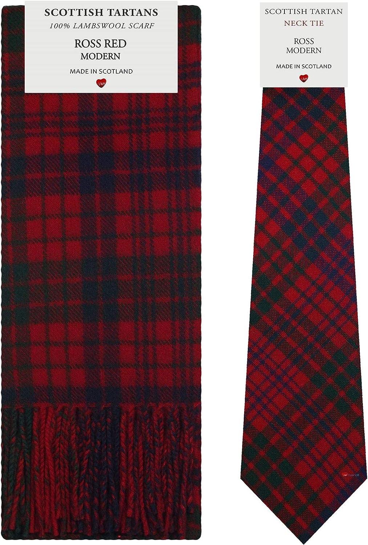Ross Red Modern Tartan Plaid 100% Lambswool Scarf & Tie Gift Set