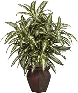 """Nearly Natural 6673 30in. Aglaonema with Decorative Vase Silk Plant,Green,7.5"""" x 9"""" x 30"""""""