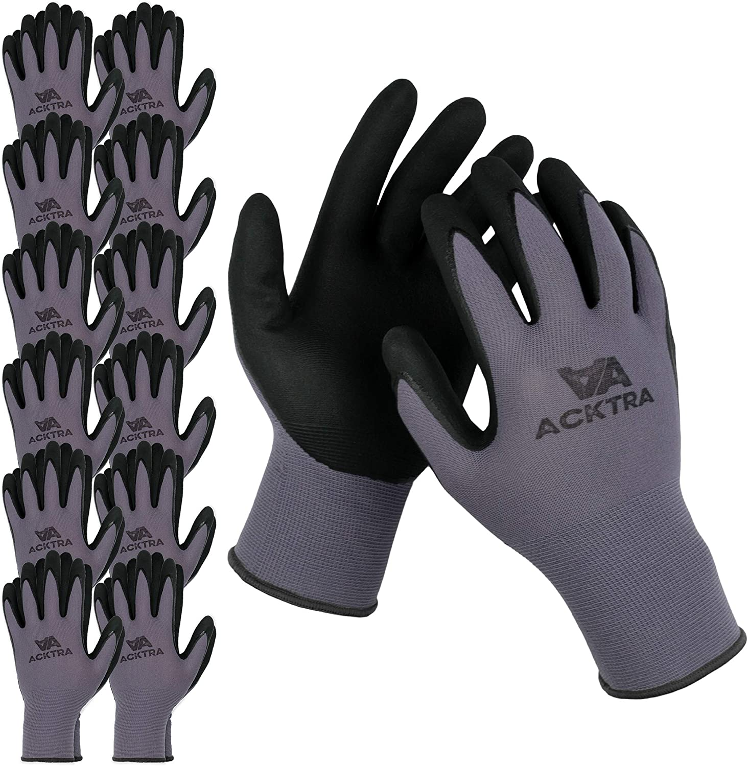 ACKTRA WG019 Safety WORK GLOVES Popular product quality assurance 12 pairs Grey 15G Seamless Nylo